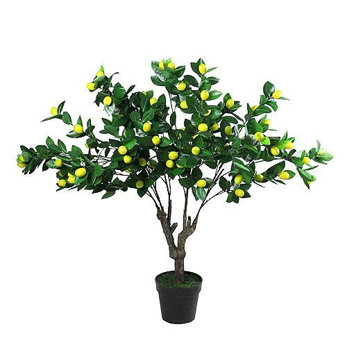 """45"""" Potted Green and Yellow Artificial Lemon Tree"""