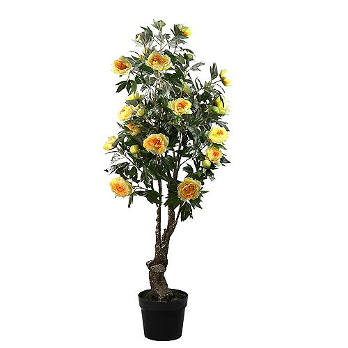 5.5' Potted Yellow and Orange Artificial Peony Flower Tree