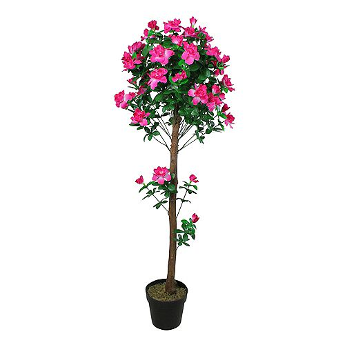 54 Potted Artificial Green and Pink Azalea Flower Tree