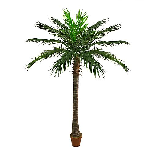 7.5' Potted Artificial Green and Brown Phoenix Palm Tree