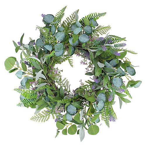 Lavender and Catnip Artificial Spring Wreath  Purple and Green 22-Inch