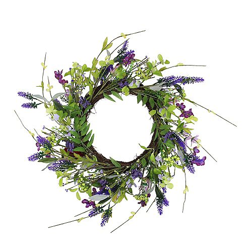 Lavender and Wild Flower Artificial Spring Wreath  Purple and Green 20-Inch