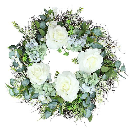 Peony  Geranium and Eucalyptus Artificial Twig Spring Wreath  White and Blue 24-Inch