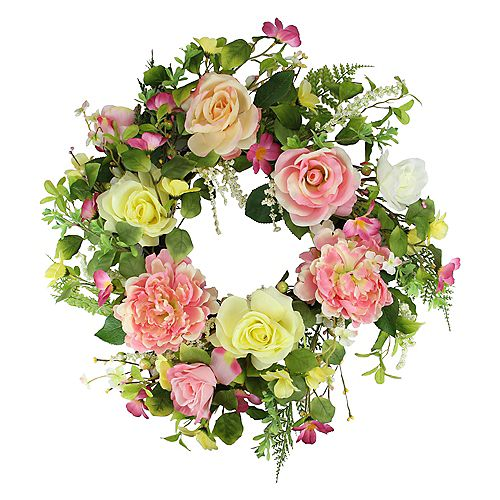 Rose and Peony Floral Artificial Spring Wreath  Pink and Yellow  22-Inch