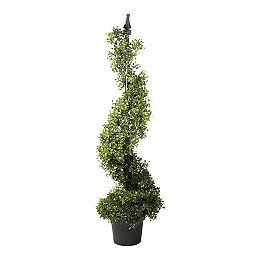 3.75' Potted deux tons Boxwood Spirale artificielle Topiary Arbre de Noël - Eteinte