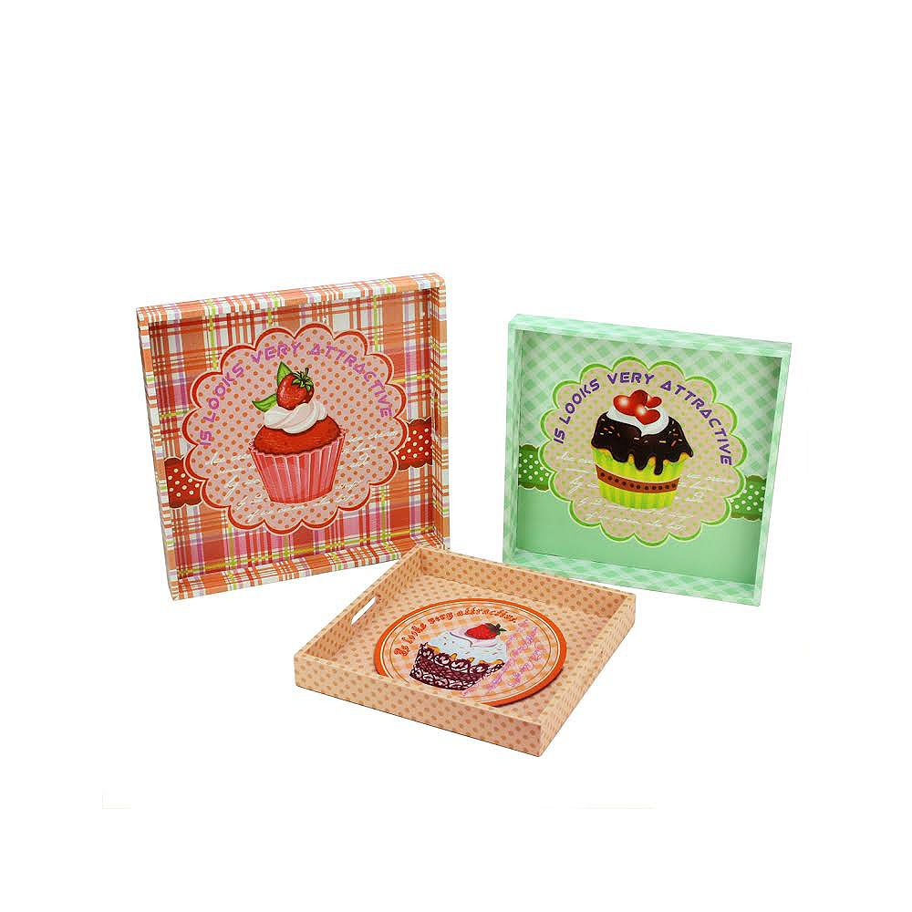 """Northlight Set of 3 Pink and Green Cupcake Theme Square Serving Trays 16"""""""