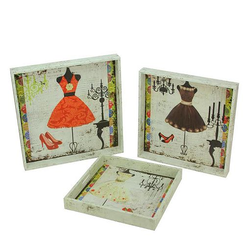 """Set of 3 White Vintage Style Fashion and Dresses Square Serving Trays 16"""""""