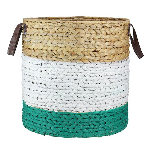 "21"" Beige  White and Teal Braided Wicker Basket with Handles"
