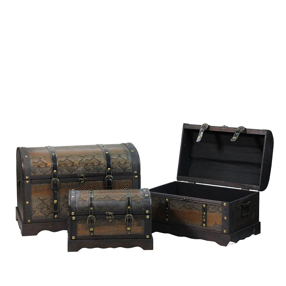 Northlight Set of 3 Decorative Antique Brown Wood and Faux Snakeskin Storage Boxes 22.5""