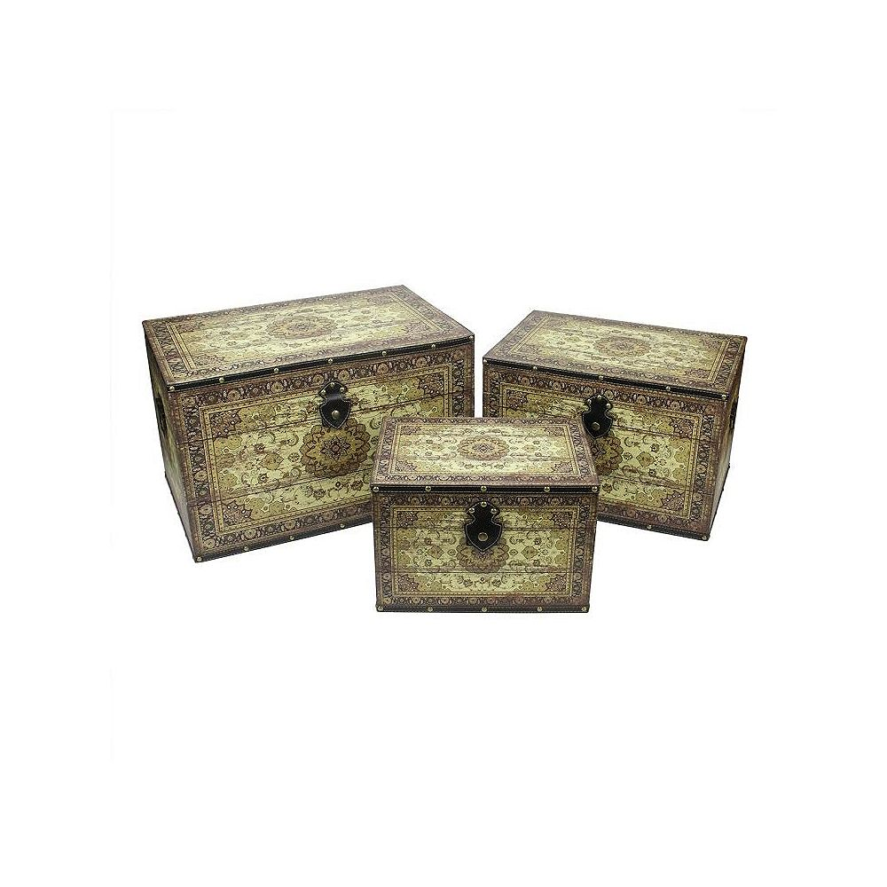 Northlight Set of 3 Oriental-Style Brown and Cream Earth Tone Wooden Storage Boxes 22""