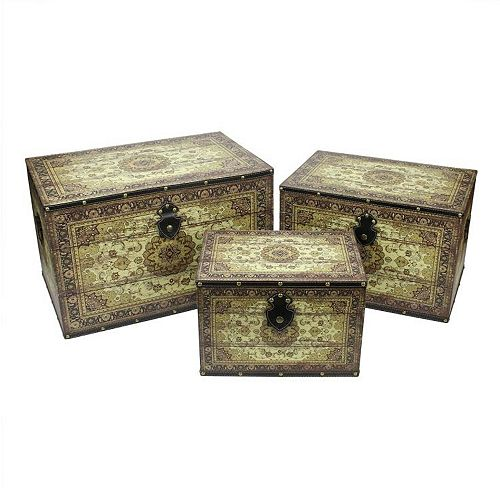 """Set of 3 Oriental-Style Brown and Cream Earth Tone Wooden Storage Boxes 22"""""""