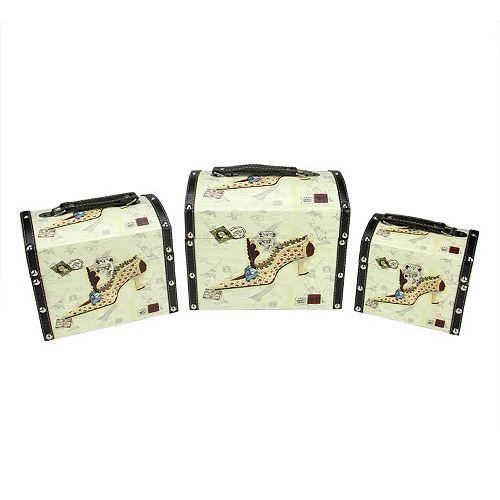 "Set of 3 Vintage-Style Stiletto Decorative Wooden Storage Boxes 10"""