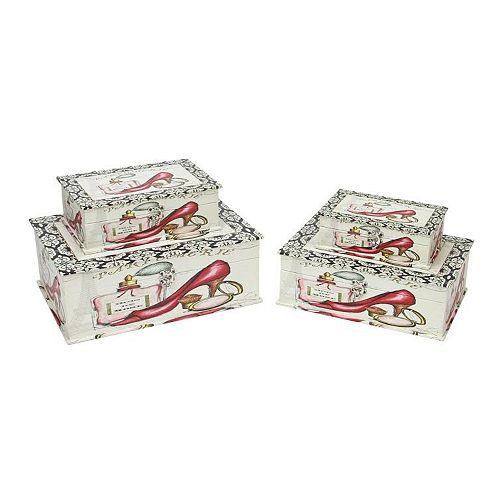 "Set of 4 Vintage-Style French Fashion Decorative Wooden Storage Boxes 13.75"""