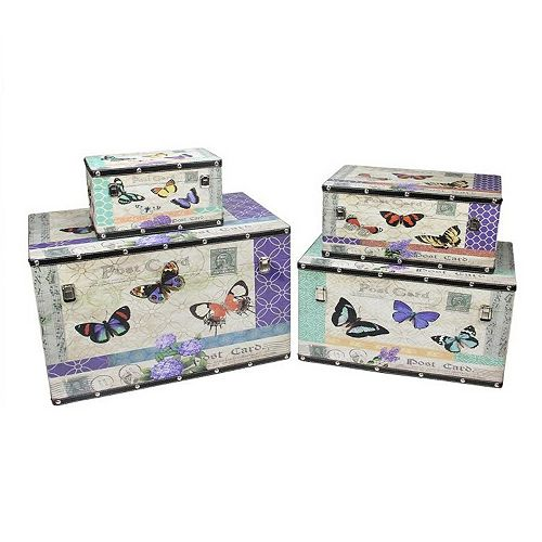 """Set of 4 Wooden Garden-Style Butterfly Decorative Storage Boxes 14-27.5"""""""