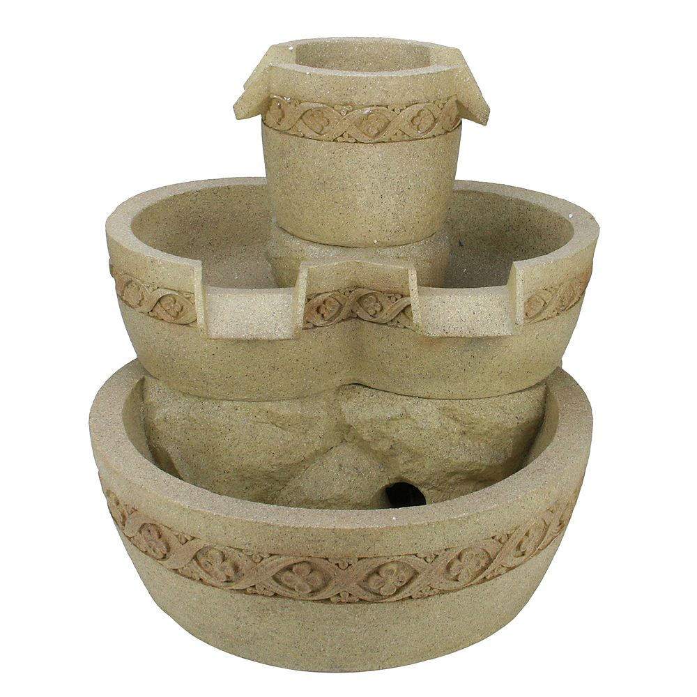"""Northlight 18.25"""" Beige LED Lighted Three Tier Floral Bowl Outdoor Patio Garden Water Fountain"""