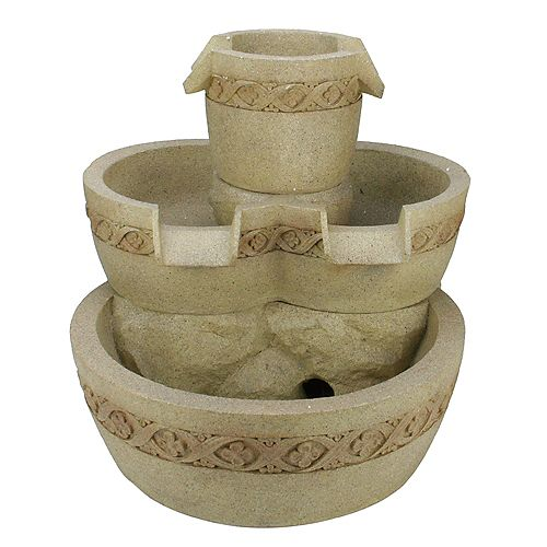 """18.25"""" Beige LED Lighted Three Tier Floral Bowl Outdoor Patio Garden Water Fountain"""