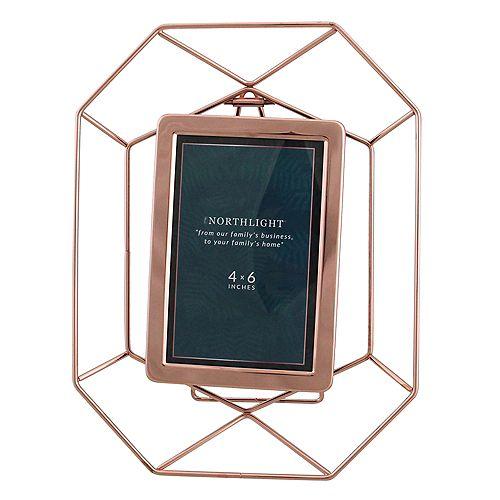 "11"" contemporaine Hexagonal 4"" x 6"" Cadre photo - Rose Gold"