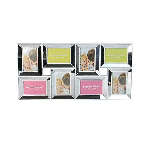 """28"""" White Mirrored Collage Picture Frame Wall Decoration"""