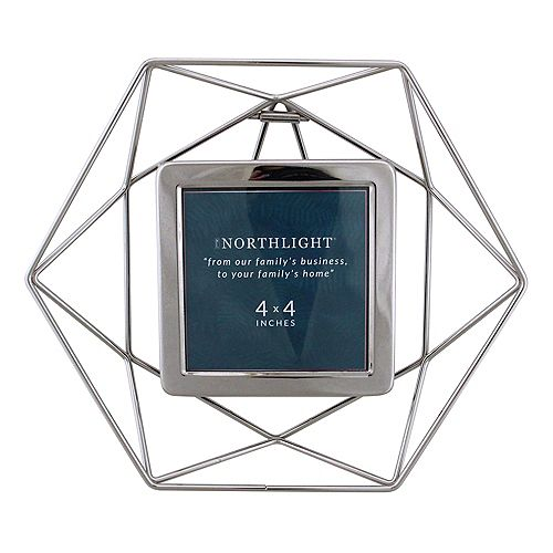 "9.5"" contemporaine Hexagonal 4"" x 4"" Cadre photo - Argent"