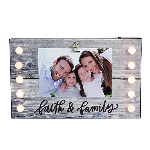 """LED Lighted Foi et famille Cadre photo avec clip - 4"""" x 6"""""""