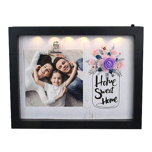 "LED Lighted Home Sweet Home Cadre photo avec clip - 4"" x 4"""