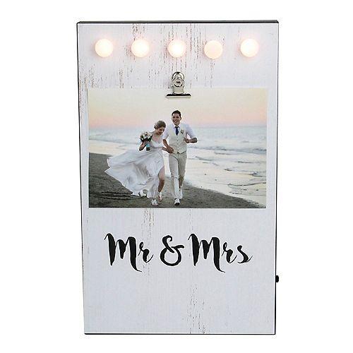 """LED Lighted Mr & Mrs Cadre photo avec clip - 4"""" x 6"""""""