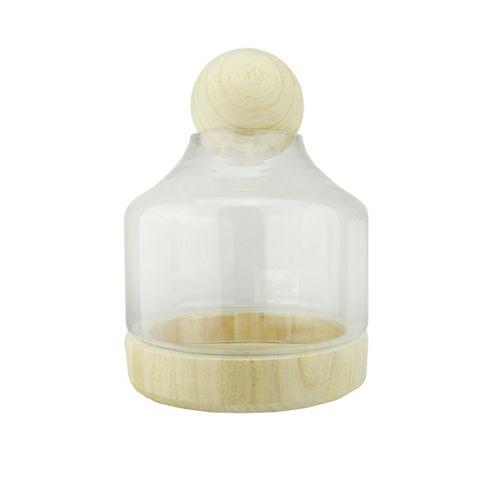 """12.5"""" Hurricane en verre transparent avec décoration en bois et couvercle de base"""