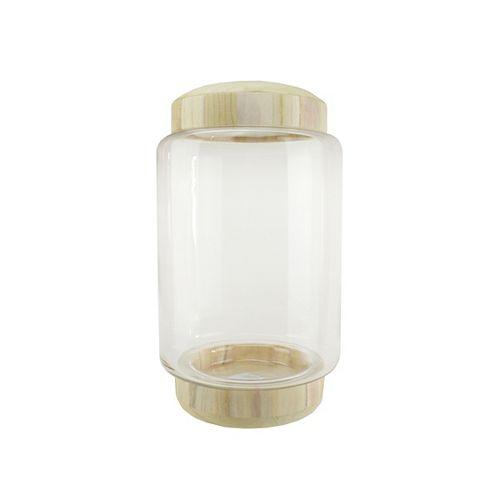 """13,5"""" Container verre transparent cylindrique avec base en bois et couvercle"""