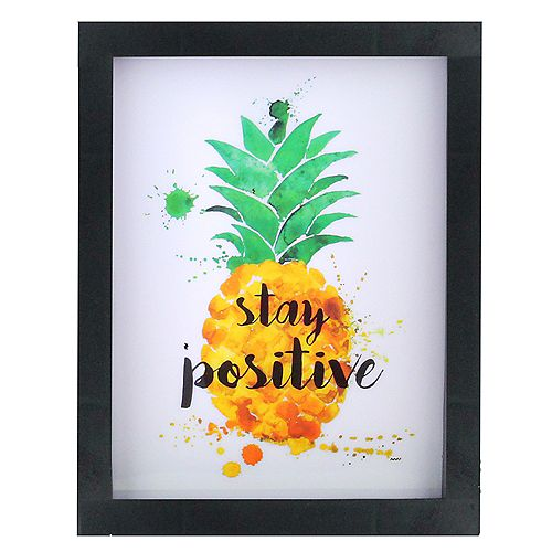 "9"" LED Lighted 'Stay Positive' Pineapple Framed Light Box"