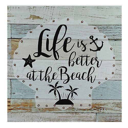 "Battery Operated LED Lighted Beach Wall Art Plaque 12"" x 12"""