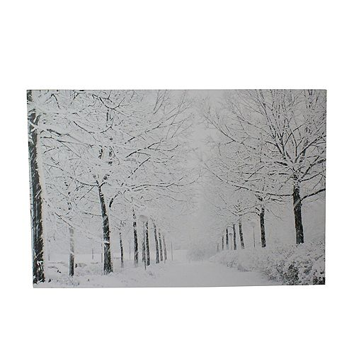 "Fiber Optic Lighted Snowfall Winter Lane Christmas Canvas Wall Art 11.75"" x 15.75"""