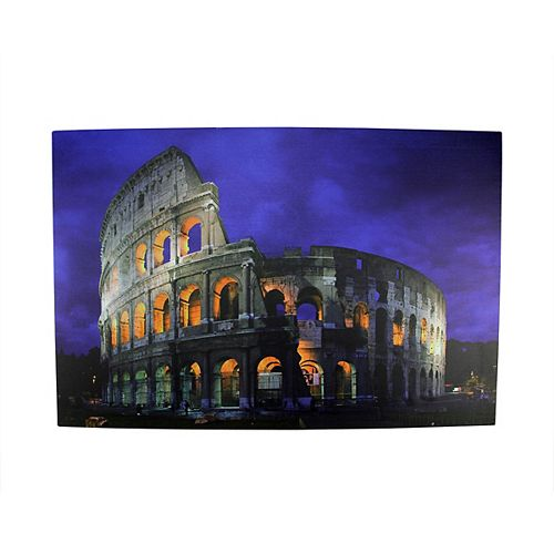 "LED Lighted Roman Colosseum Italy Canvas Wall Art 15.75"" x 23.5"""