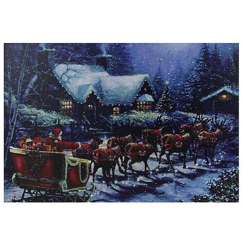"LED Lighted Santa Claus in Sleigh Christmas Canvas Wall Art 15.75"" x 23.5"""