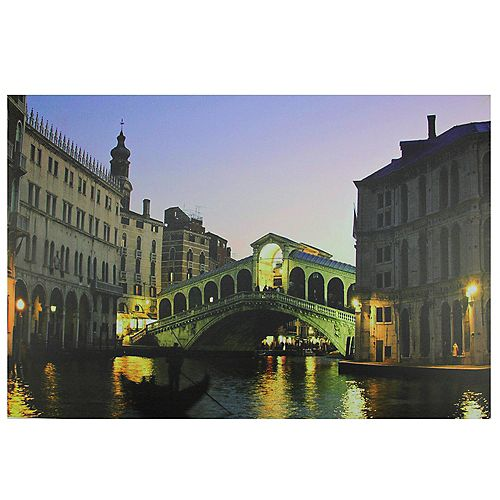 "LED Lighted Venice  Italy Grand Canal Canvas Wall Art 15.75"" x 23.5"""