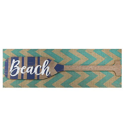 "Aqua Blue Chevron Burlap with âBeach"" Wood Look Oar Linen Wall Art 24"""