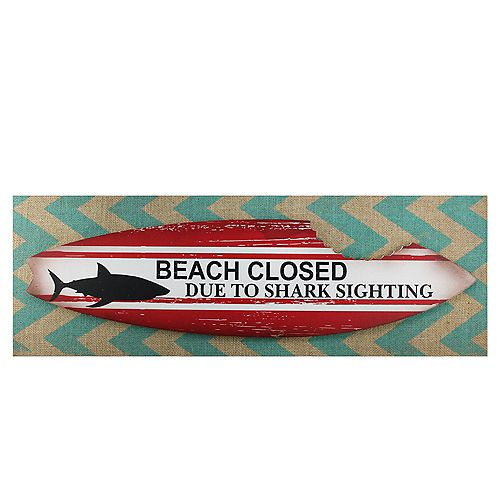 Beach Closed Shark Bitten Surfboard Linen Burlap Wall Art 24""