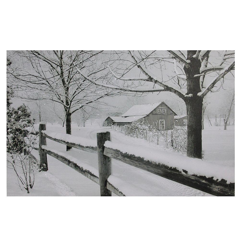 "Northlight Large Fiber Optic Lighted Snowy Winter Cabin Canvas Wall Art 23.5"" x 15.5"""