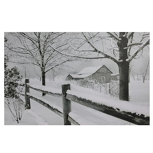 "Large Fiber Optic Lighted Snowy Winter Cabin Canvas Wall Art 23.5"" x 15.5"""