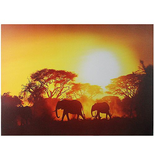 "Safari Sunset LED Back Lit Decorative Elephant Canvas Wall Art 11.75"" x 15.75"""