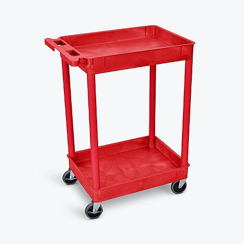 Luxor Red 2 Shelf Tray Shelf Plastic Cart
