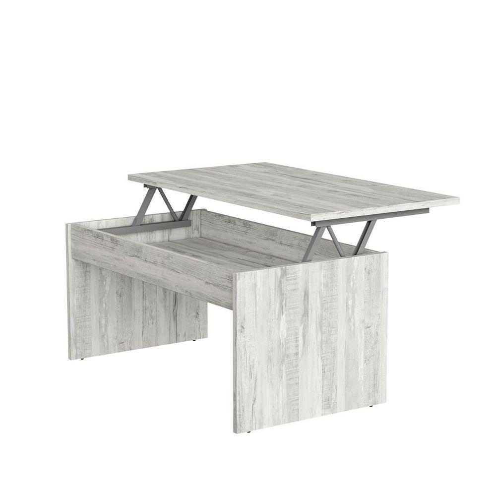 Smart table basse avec plateau relevable et espace de rangement, grise
