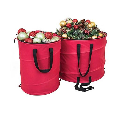 "30"" Red and Black Extra Large Pop-Up Christmas Decorations Storage Bag"