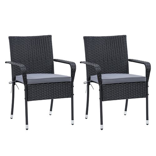Corliving CorLiving Parksville Patio Armchair Set Stackable - Black Finish/Ash Grey Cushions 2pc
