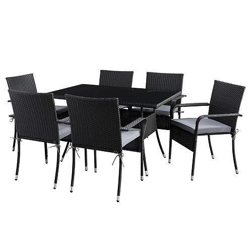 Corliving CorLiving Black Parksville Rectangle Patio Dining Set with Ash Grey Cushions 7pc