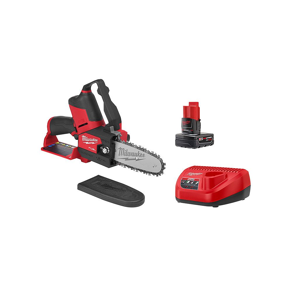 Milwaukee Tool M12 FUEL 12V Li-Ion Brushless Cordless 6-inch HATCHET Pruning Chainsaw Kit with 4.0 Ah Battery