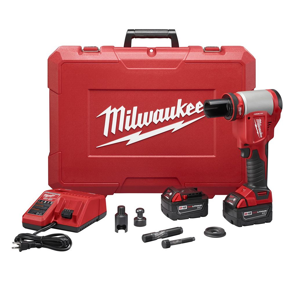 Milwaukee Tool M18 18V Lithium-Ion Cordless FORCE LOGIC Knockout Kit with (2) 3.0Ah Batteries & Charger