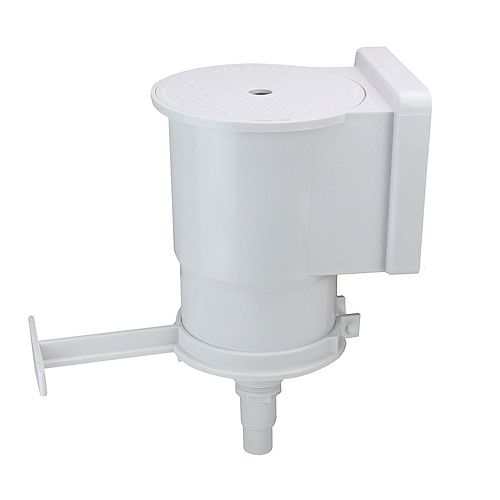 """13.75"""" White Wide-Mouth Thru-Wall Skimmer with Brace and Face Plate"""