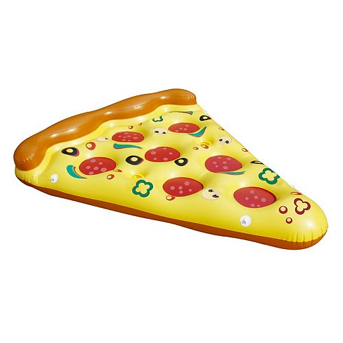 "70.5"" Inflatable Yellow and Brown Pizza Slice Novelty Swimming Pool Raft Float"