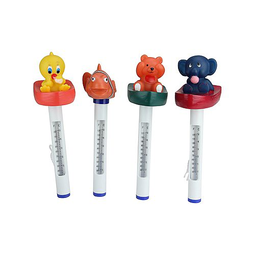 """Pool Central Set of 4 White and Orange Animal Themed Floating Swimming Pool Thermometers with Cords 9.5"""""""