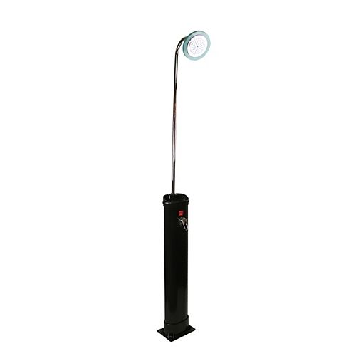 7' LED Lighted Black Eco-Friendly Solar-Powered Poolside Shower Station